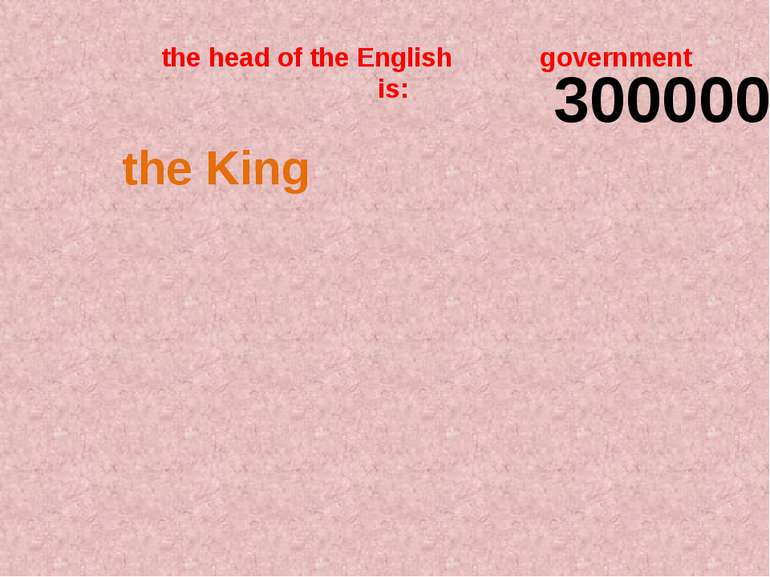 the head of the English government is: 300000