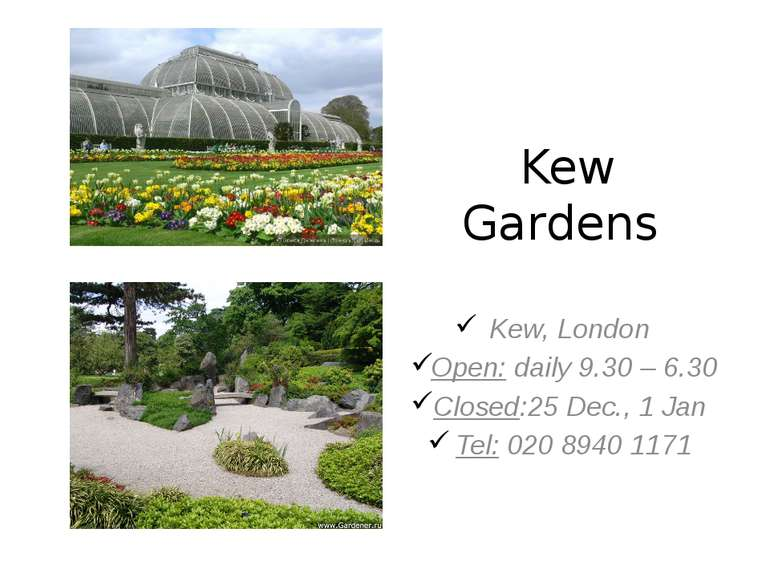 Kew Gardens Kew, London Open: daily 9.30 – 6.30 Closed:25 Dec., 1 Jan Tel: 02...