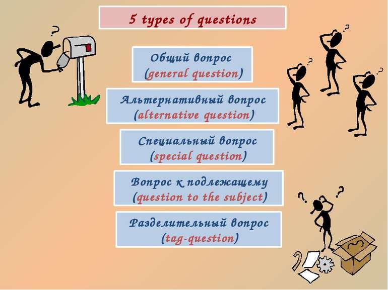 5 types of questions Общий вопрос (general question) Альтернативный вопрос (a...