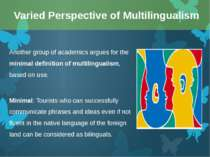 Another group of academics argues for the minimal definition of multilinguali...