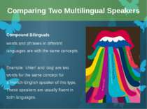 Compound Bilinguals words and phrases in different languages are with the sam...