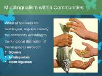 When all speakers are multilingual, linguists classify the community accordin...