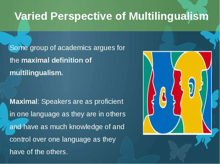 Some group of academics argues for the maximal definition of multilingualism....
