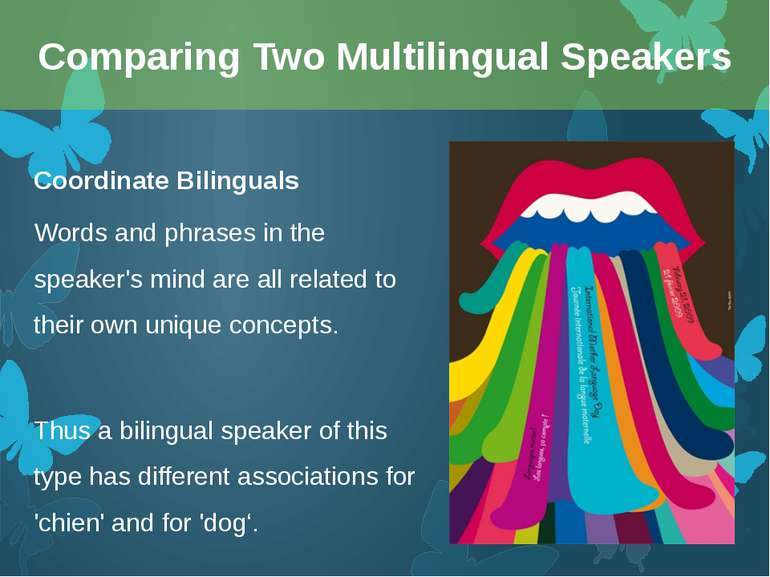 Coordinate Bilinguals Words and phrases in the speaker's mind are all related...