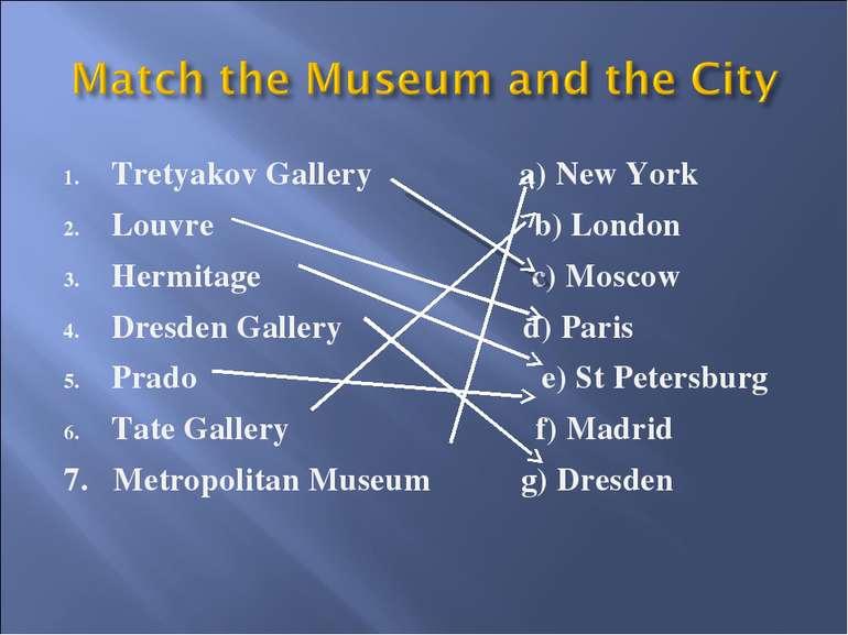 Tretyakov Gallery a) New York Louvre b) London Hermitage c) Moscow Dresden Ga...