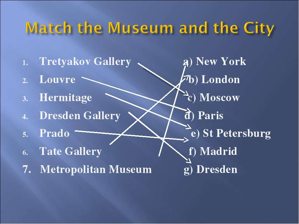 Tretyakov Gallery a) New York Louvre b) London Hermitage c) Moscow Dresden Ga...