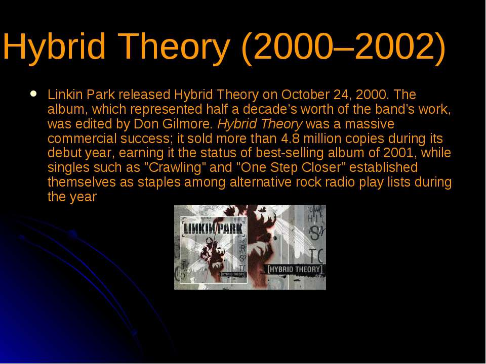 Hybrid Theory (2000–2002) Linkin Park released Hybrid Theory on October 24, 2...