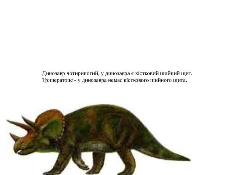 Динозавр чотириногий, у динозавра є кістковий шийний щит. Трицератопс - у дин...
