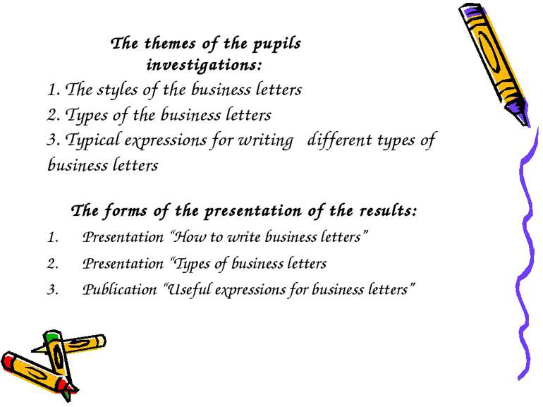 The themes of the pupils investigations: 1. The styles of the business letter...