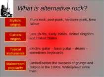 What is alternative rock? Stylistic origins Cultural origins Typical instrume...