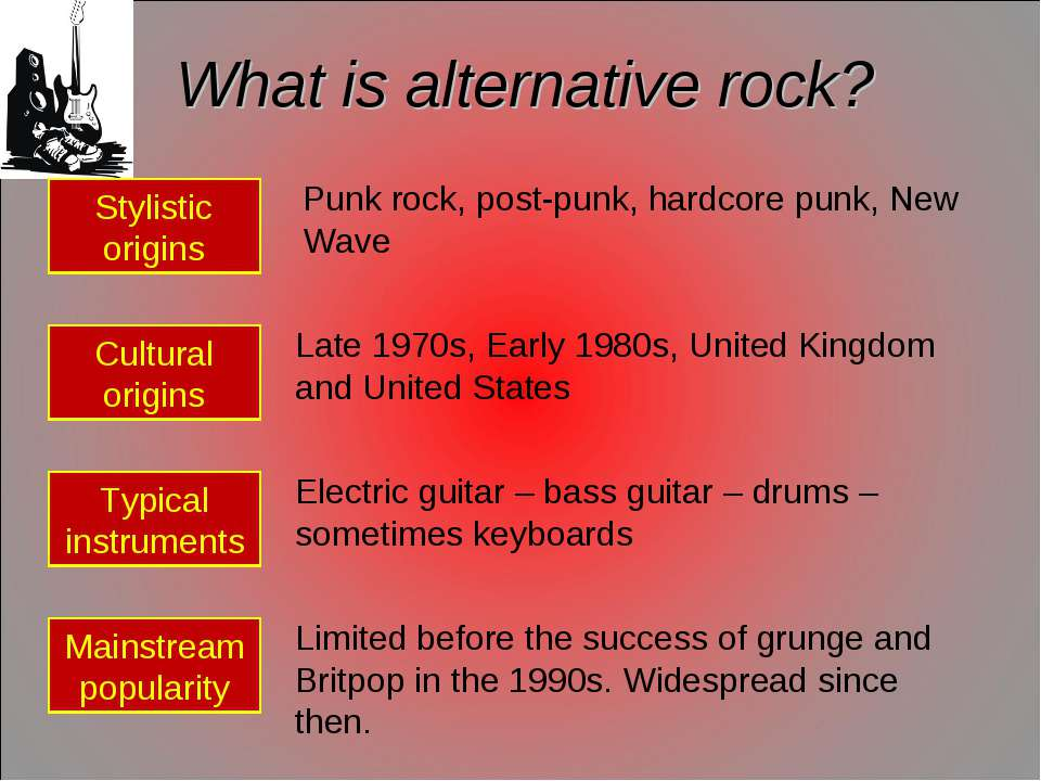 What is alternative rock? Stylistic origins Cultural origins Typical instrume...