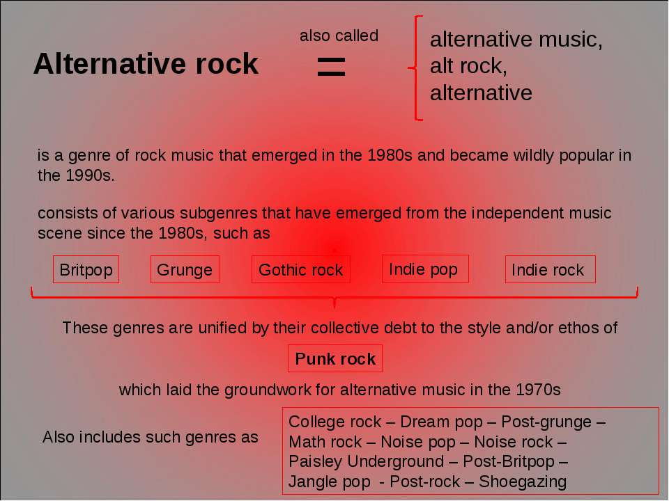 Alternative rock is a genre of rock music that emerged in the 1980s and becam...