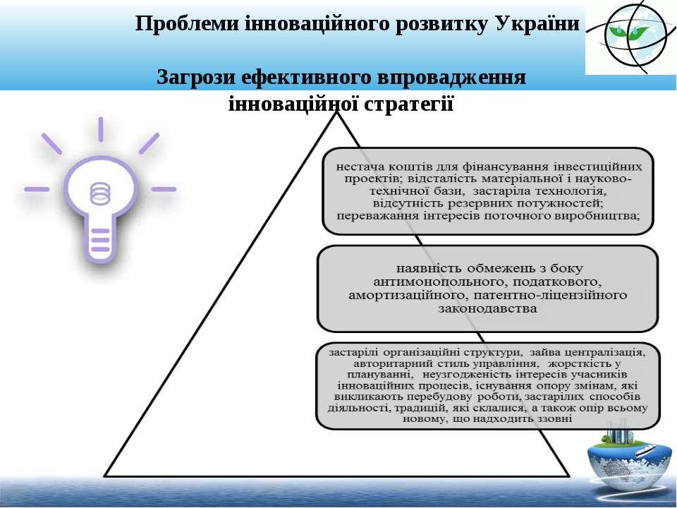 Проблеми інноваційного розвитку України Загрози ефективного впровадження інно...