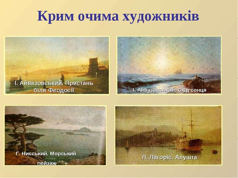 Крим очима художників Г. Нисський. Морський пейзаж Л. Лагоріс. Алушта І. Айва...