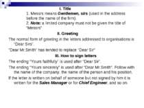 I. Title 1. Messrs means Gentlemen, sirs (used in the address before the name...