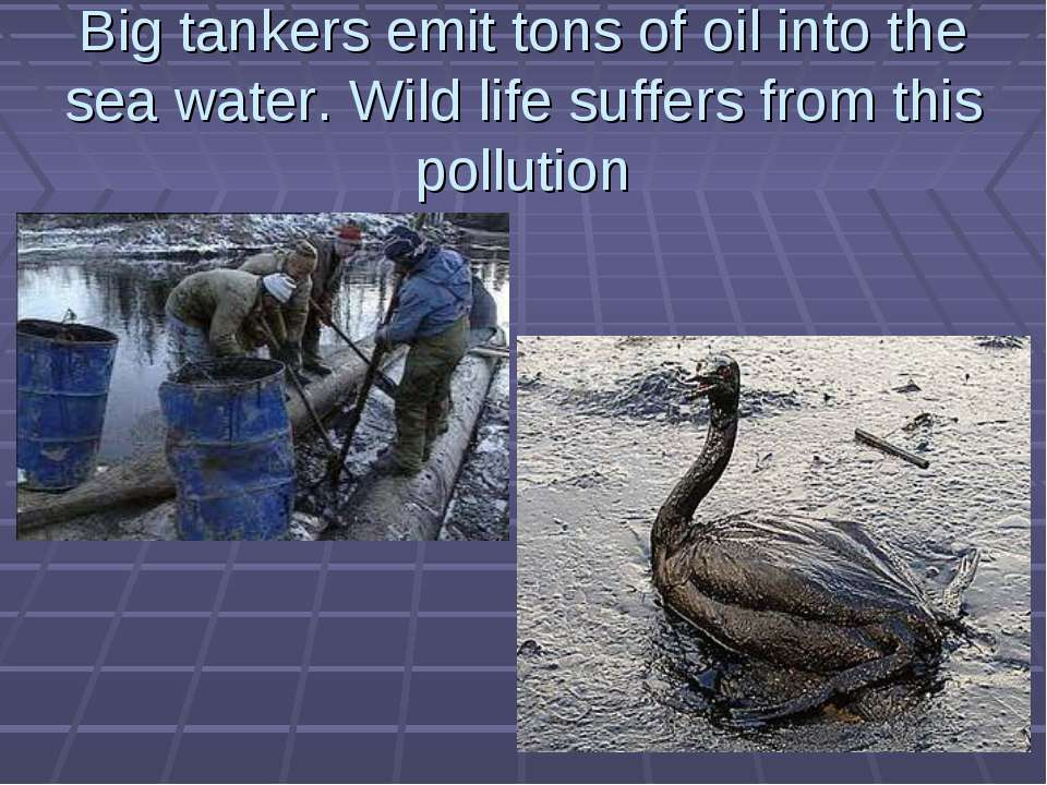 Big tankers emit tons of oil into the sea water. Wild life suffers from this ...