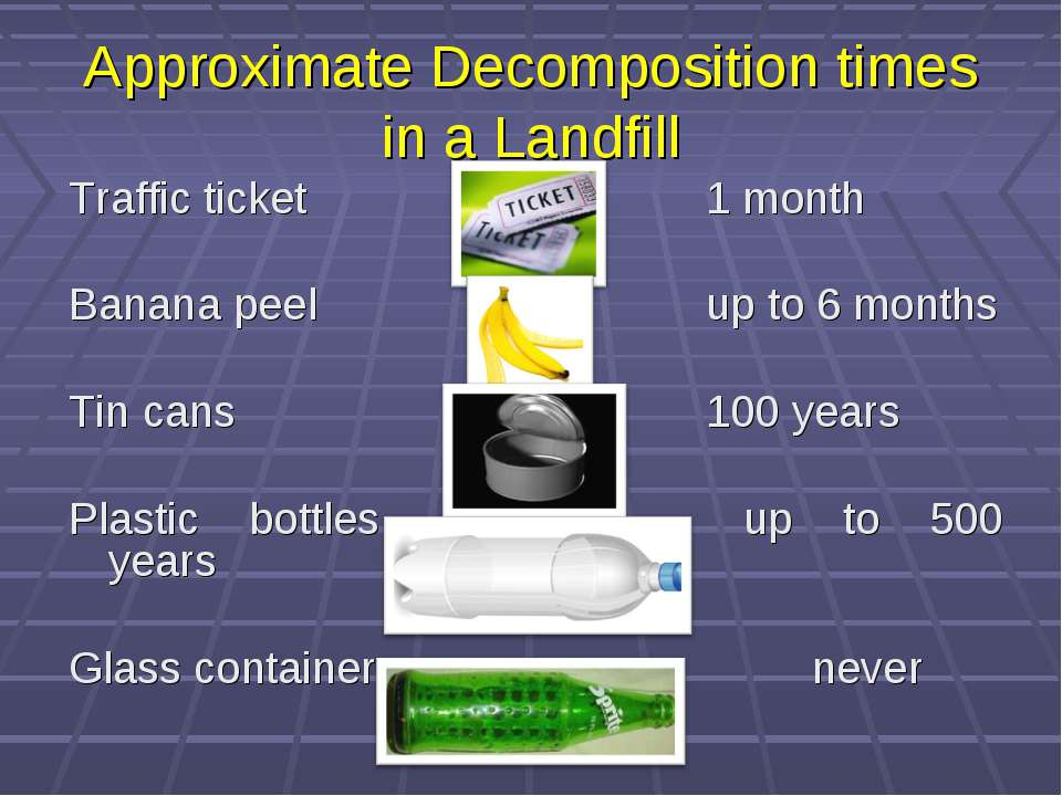 Approximate Decomposition times in a Landfill Traffic ticket 1 month Banana p...