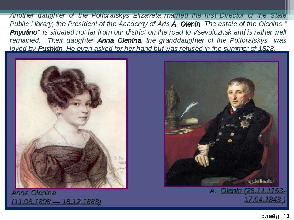 Another daughter of the Poltoratskys Elizaveta married the first Director of ...