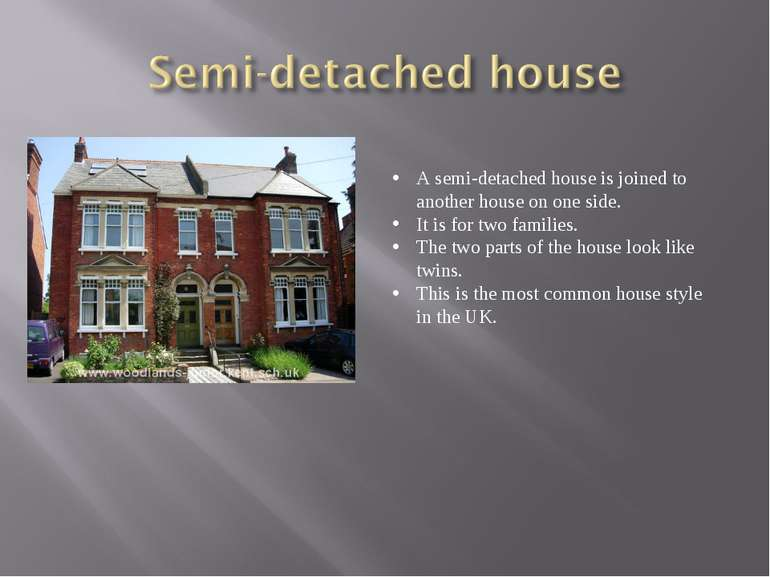 A semi-detached house is joined to another house on one side. It is for two f...