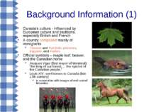 Background Information (1) Canada's culture - influenced by European culture ...