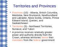 Territories and Provinces Provinces (10) - Alberta, British Columbia, Manitob...