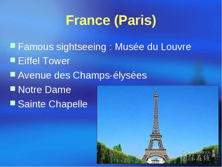 France (Paris) Famous sightseeing : Musée du Louvre Eiffel Tower Avenue des C...
