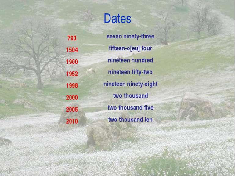 Dates 793 1504 1900 1952 1998 2000 2005 2010 seven ninety-three fifteen-o[әu]...