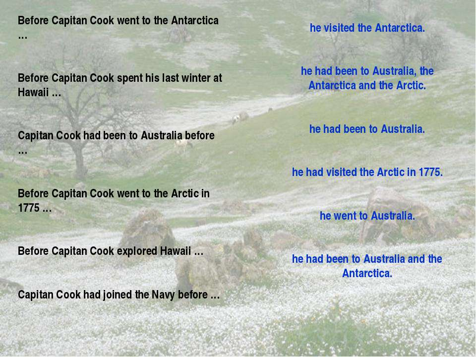 Before Capitan Cook went to the Antarctica … Before Capitan Cook spent his la...