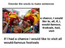 a chance, I would like to, all, if, I, would-famous, festivals, had, visit If...