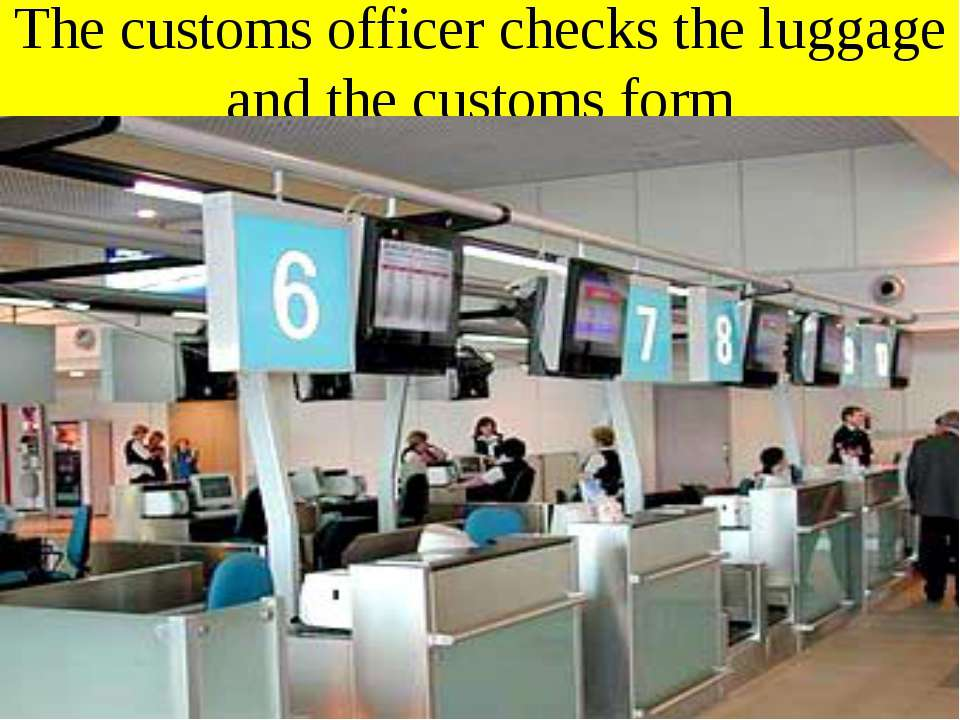The customs officer checks the luggage and the customs form