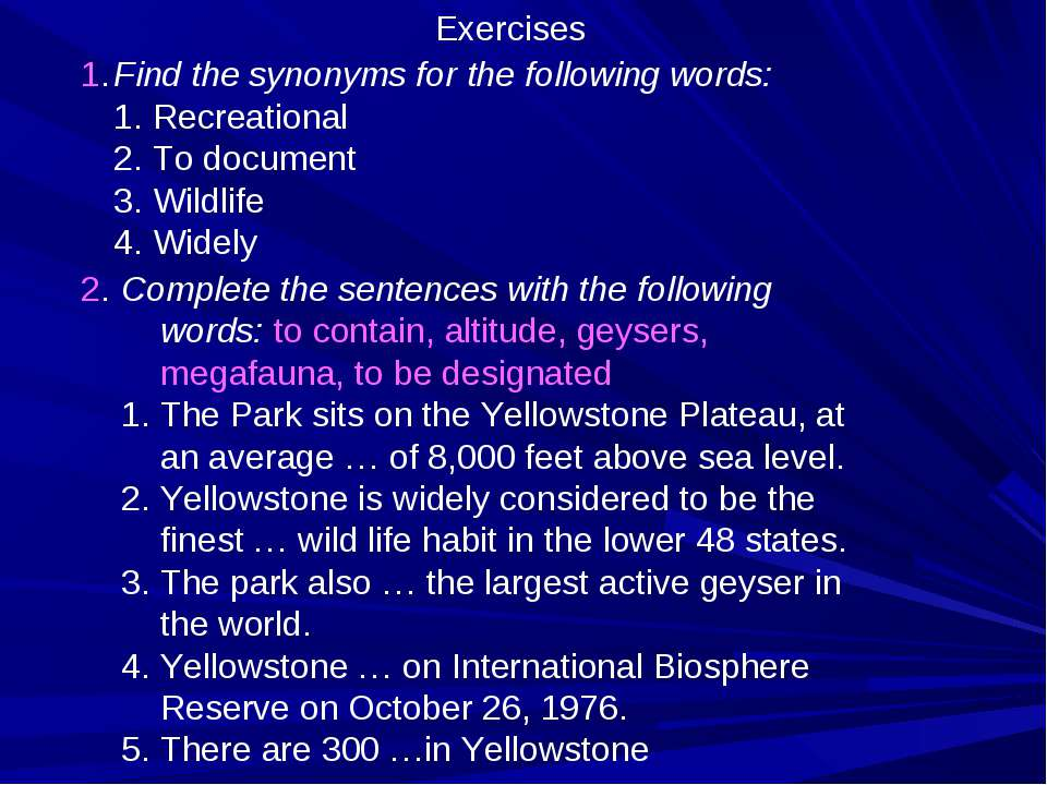 Find the synonyms for the following words: Recreational To document Wildlife ...