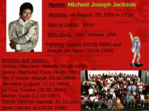 Name: Michael Joseph Jackson Brothers and sisters : Rebbie (Maureen Reilette,...