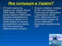 Яка ситуація в Україні? В Україні щороку від туберкульозу помирає більше 1000...