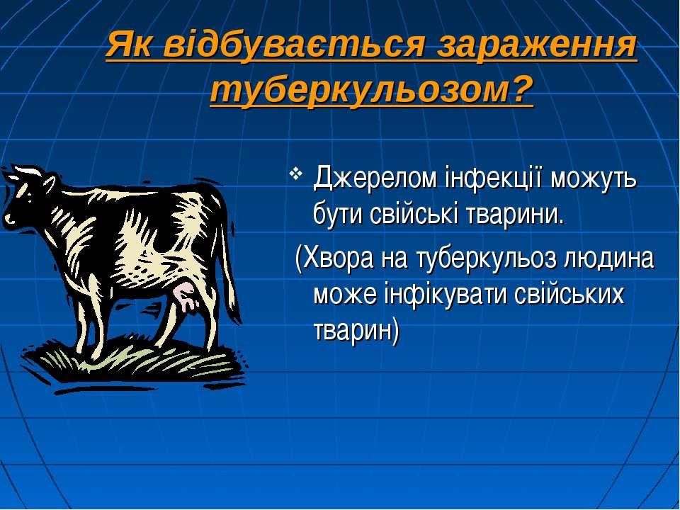 Як відбувається зараження туберкульозом? Джерелом інфекції можуть бути свійсь...