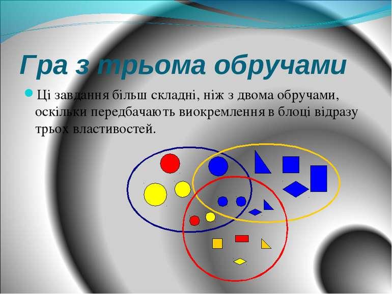 Гра з трьома обручами Ці завдання більш складні, ніж з двома обручами, оскіль...