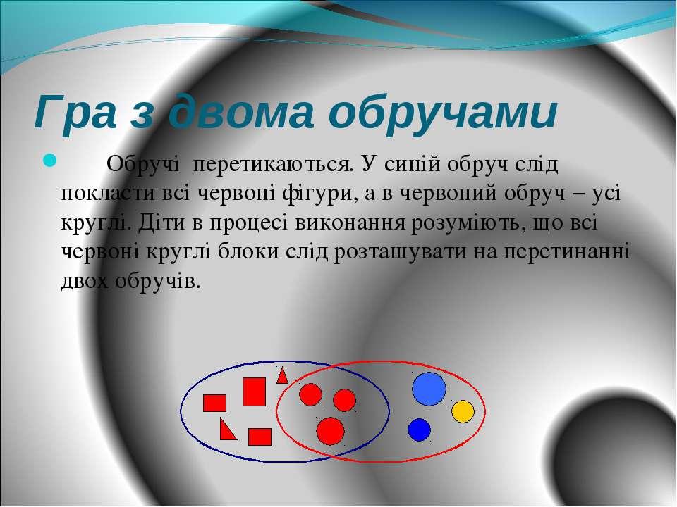 Гра з двома обручами Обручі перетикаються. У синій обруч слід покласти всі че...