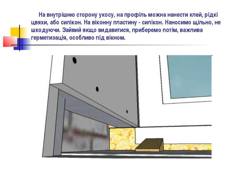 На внутрішню сторону укосу, на профіль можна нанести клей, рідкі цвяхи, або с...