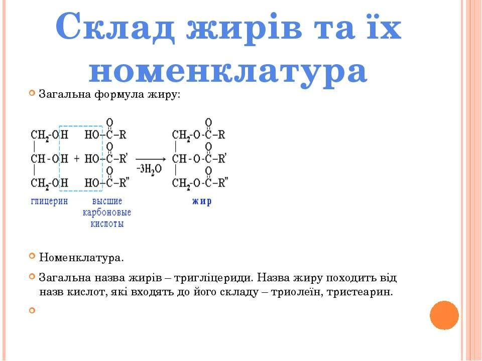 Загальна формула жиру: Номенклатура. Загальна назва жирів – тригліцериди. Наз...