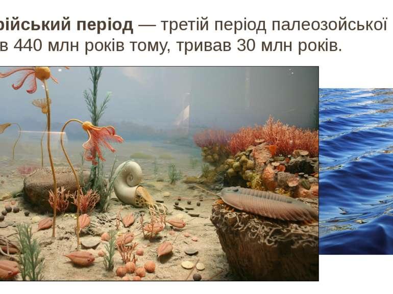 Силурійський період— третій періодпалеозойської ери. Настав 440млн років т...