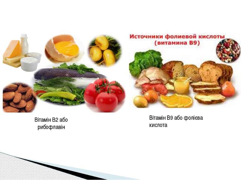 Вітамін В2 або рибофлавін Вітамін В9 або фолієва кислота