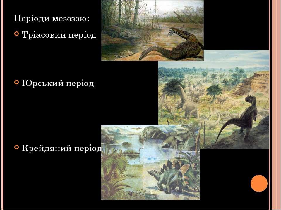 Періоди мезозою: Тріасовий період Юрський період Крейдяний період