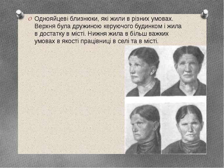 Однояйцеві близнюки, які жили в різних умовах. Верхня була дружиною керуючого...