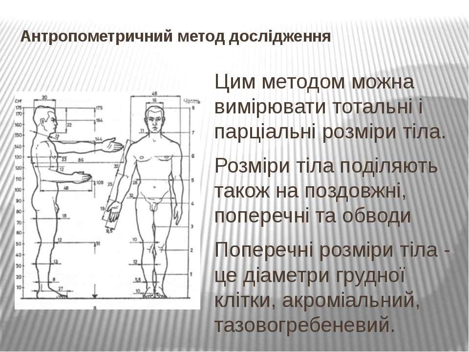 Антропометричний метод дослідження Цим методом можна вимірювати тотальні і па...