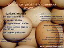 Добова потреба та призначення вітаміну В5 Добова потреба для дорослих 10-12 м...