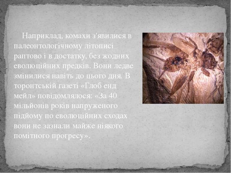 Наприклад, комахи з'явилися в палеонтологічному літописі раптово і в достатку...