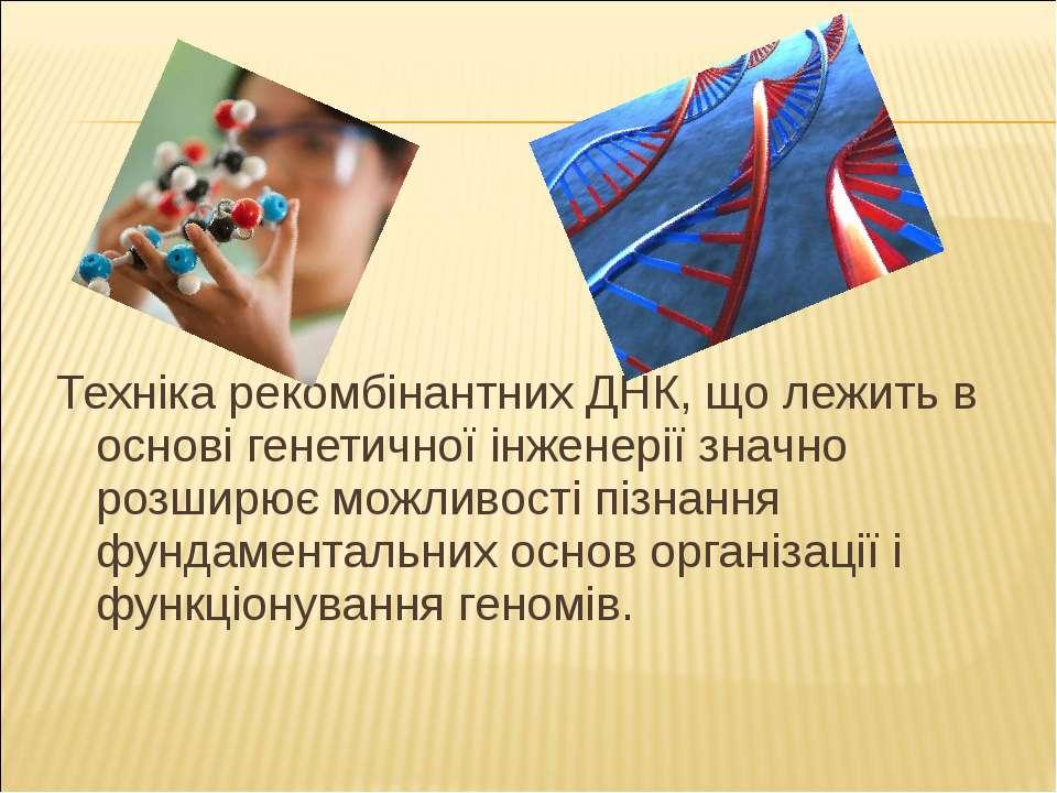 Техніка рекомбінантних ДНК, що лежить в основі генетичної інженерії значно ро...