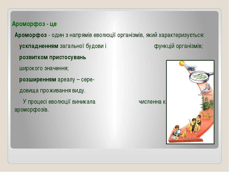 Ароморфоз - це Ароморфоз - один з напрямів еволюції організмів, який характер...