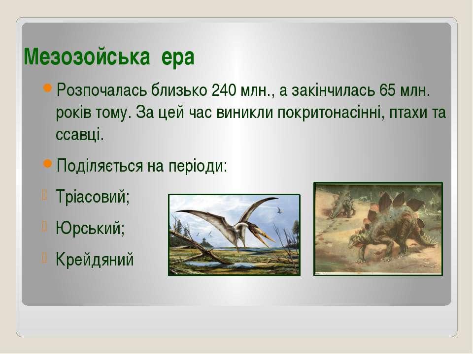 Мезозойська ера Розпочалась близько 240 млн., а закінчилась 65 млн. років том...