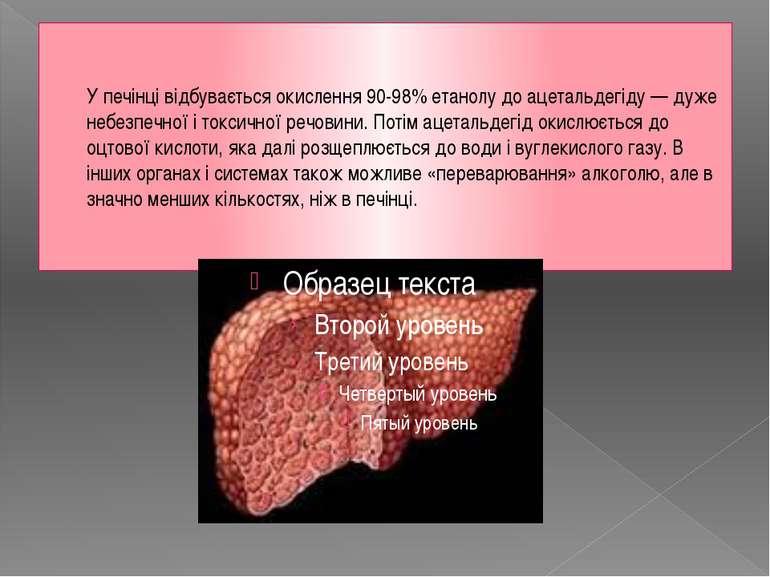 У печінці відбувається окислення 90-98%етанолудо ацетальдегіду — дуже небез...