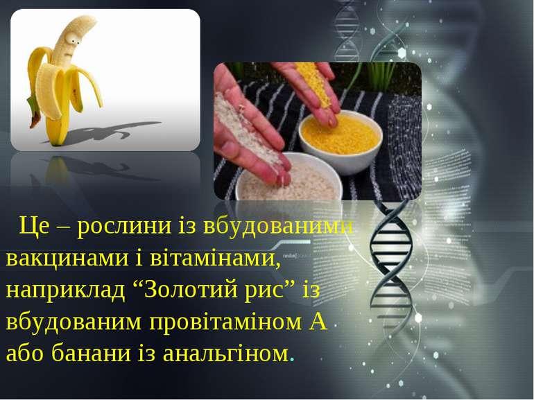 """Це – рослини із вбудованими вакцинами і вітамінами, наприклад """"Золотий рис"""" і..."""